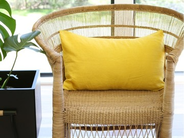 Pure french linen 'le petit' cushion cover in Yellow