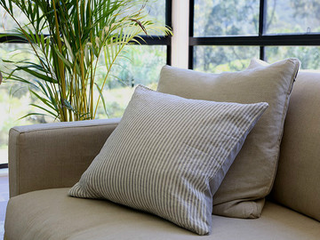 Pure french linen DOUBLE SIDED cushion cover in Stripes and Soft Grey
