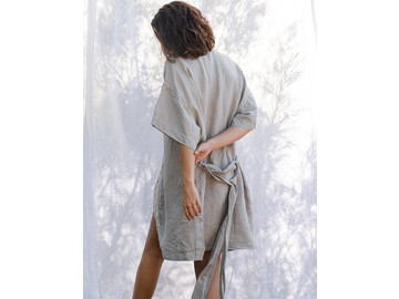 French Linen Kimono Robe in Soft Grey