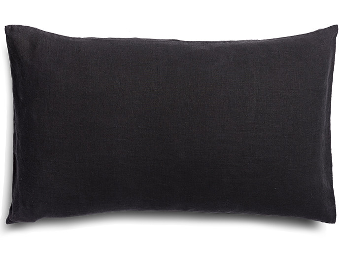 Pure french linen 'le petit' cushion cover in Charcoal Noir