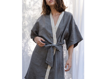 French Linen Kimono Robe in Warm Grey