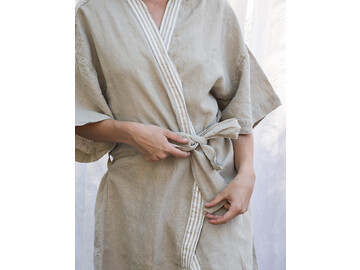 French Linen Kimono Robe in Natural