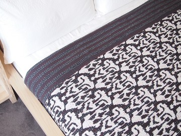 Midnight Ink ikat kantha quilt