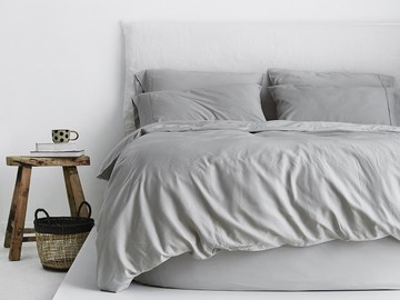 Luxurious Organic Bamboo Quilt Cover Set in Silver