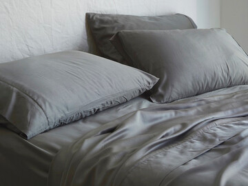 Luxurious Organic Bamboo Fitted Sheet in Charcoal