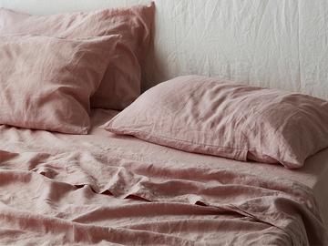 Ultra luxurious 100% pure French linen sheet set in Wildflower Pink