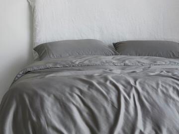 Luxurious Organic Bamboo Quilt Cover Set in Warm Grey