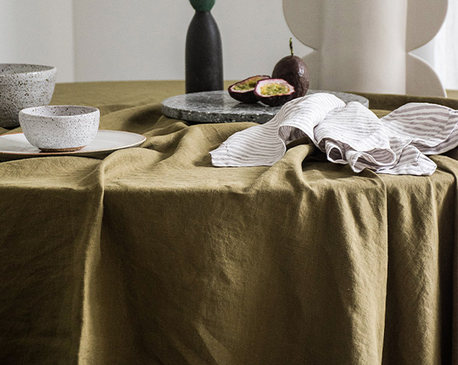 French Linen table cloth in Olive