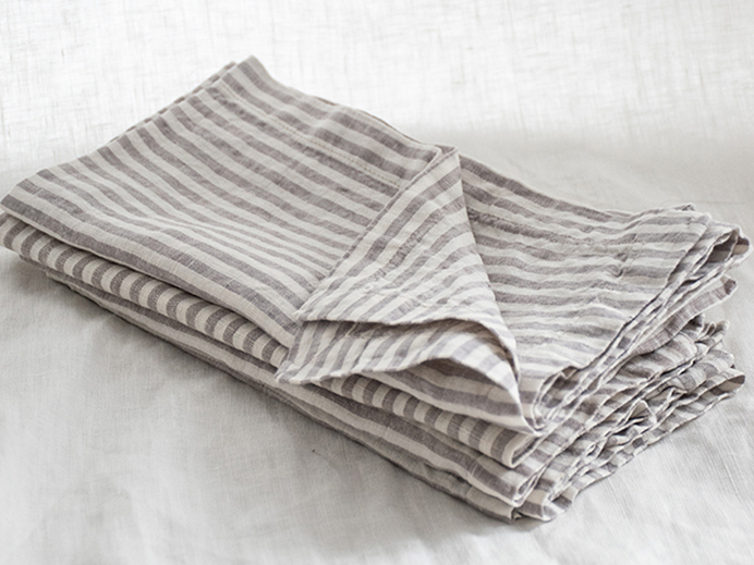 Pure French linen napkins in Soft Grey Stripes (set of 4)
