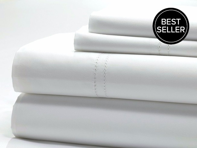 QUEEN Premium Egyptian Cotton 1000TC sheet set in 'Classic White' by The Bedroom Society™