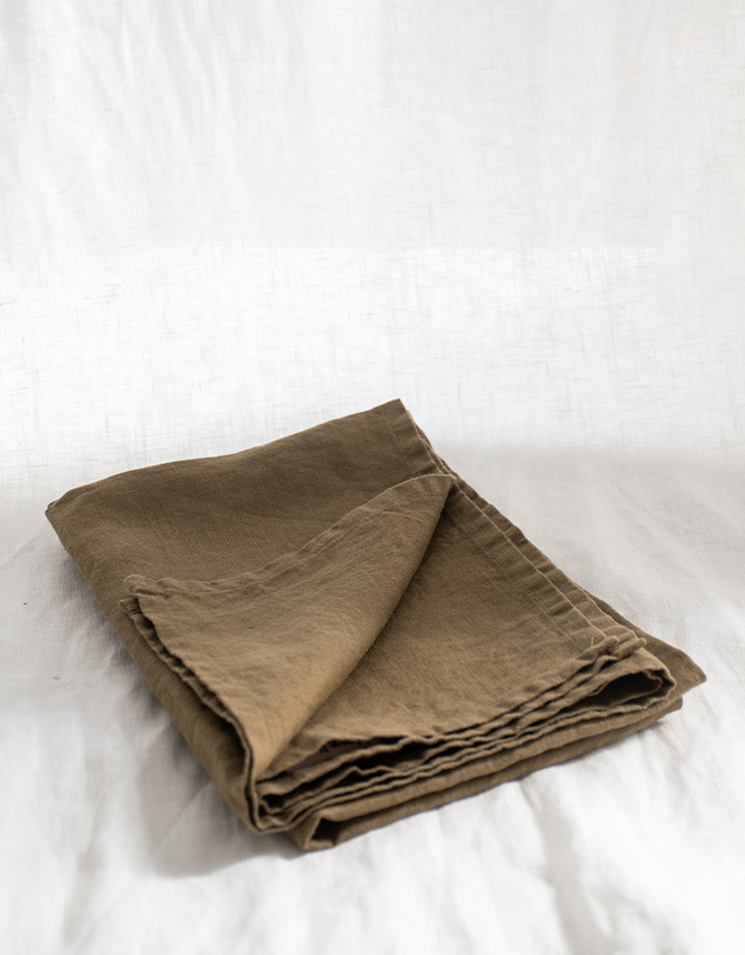 SET of french linen Tea Towel (2) in Olive