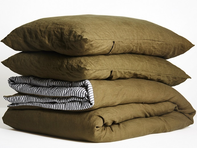 Ultra luxurious 100% pure French DOUBLE SIDED linen quilt cover in Olive / Stripes