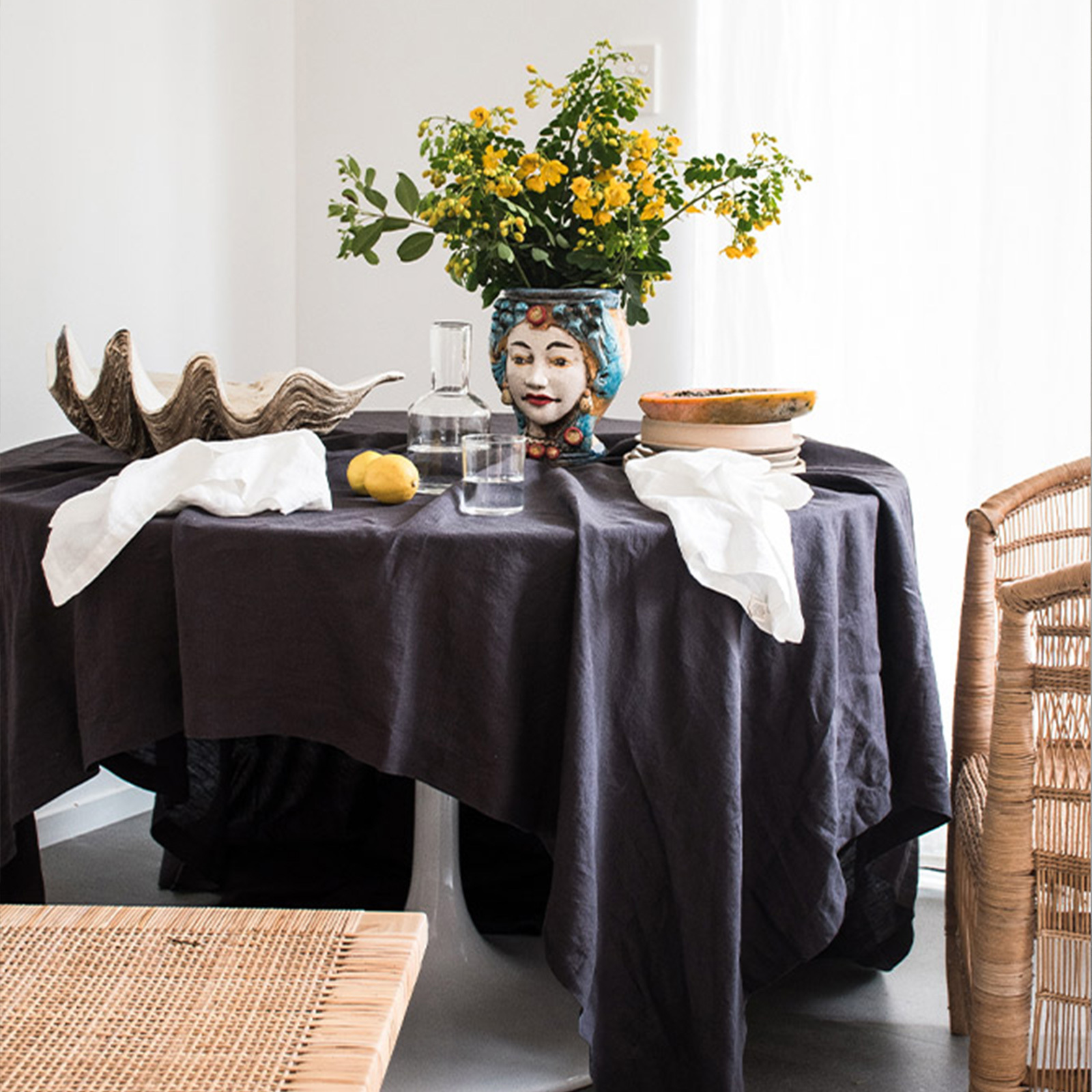 French Linen table cloth in Inky Charcoal