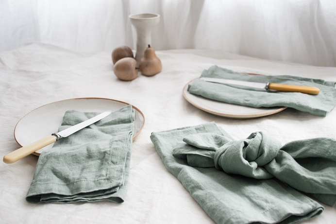 Lovers Luxurious French Linen Dining Set in Timeless Milk