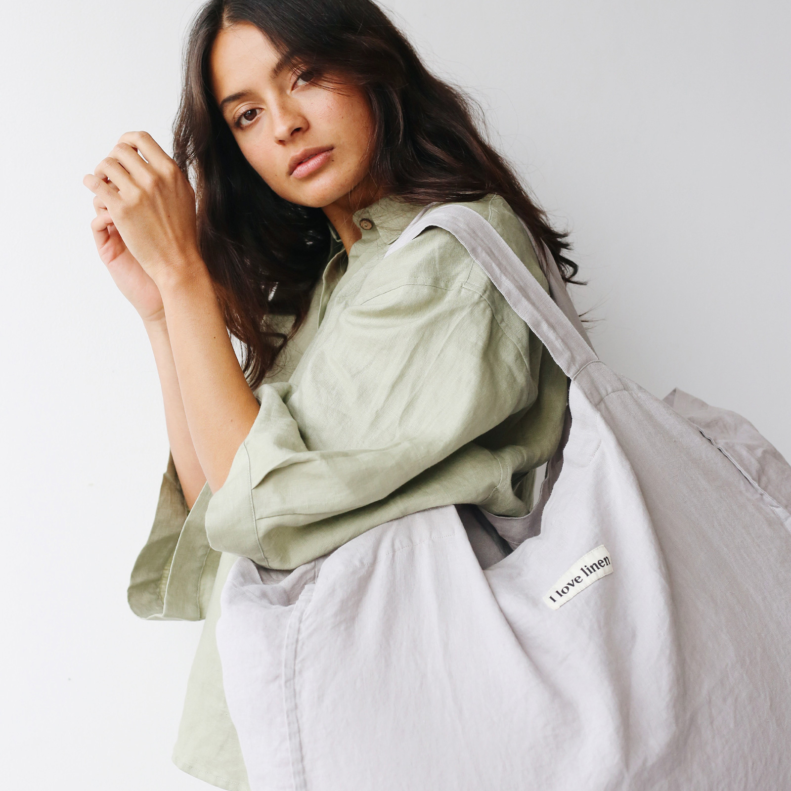 French Linen Carry All Bag in Soft Grey