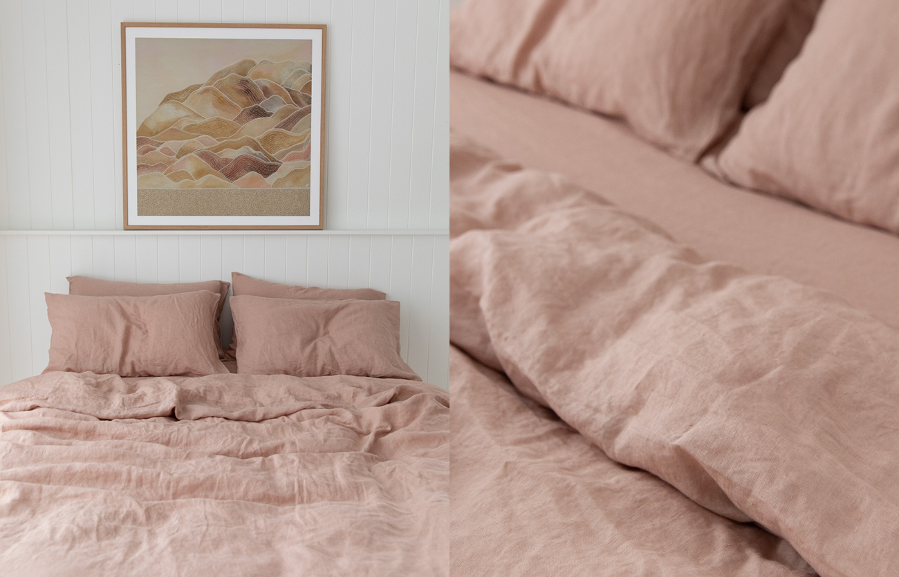 French linen, lookbook, clay, bedding