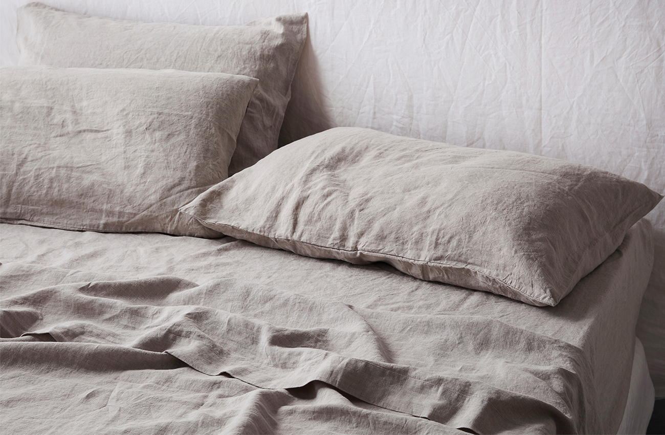 Natural linen sheet set