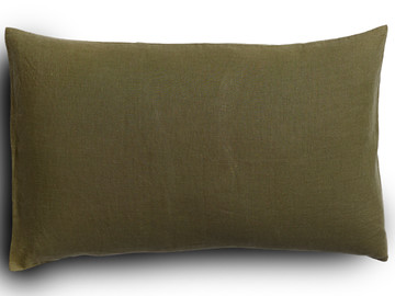 Pure french linen 'le petit' cushion cover in Olive Ivy