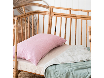Pinstripe & Sage French linen Cot Quilt/Play Mat