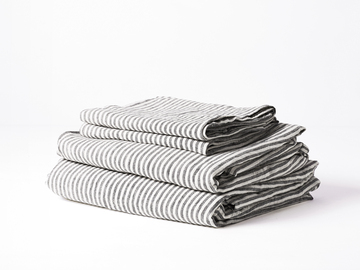 Ultra luxurious 100% pure French linen sheet set in Charcoal Stripes