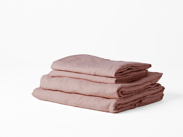 100% pure French linen sheet set in Wildflower Pink
