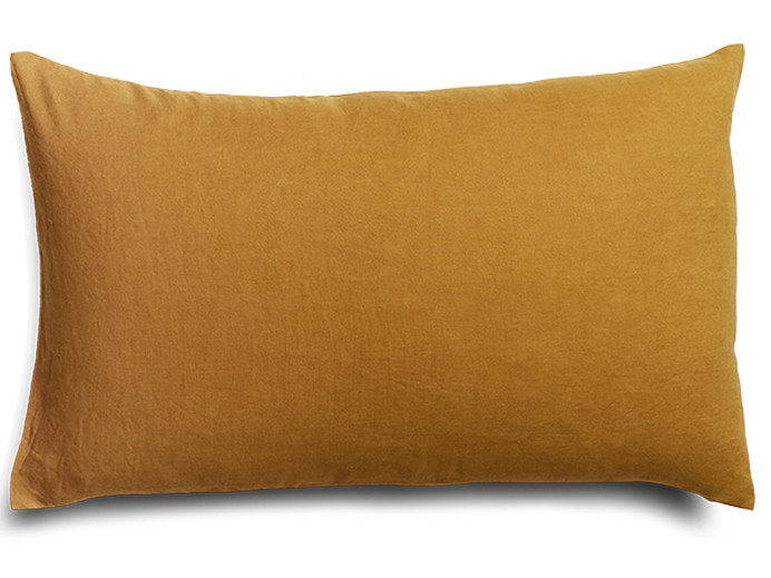Pure french linen 'le petit' cushion cover in Mustard